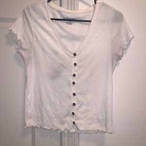 American Eagle White Button Up Short Sleeve Top